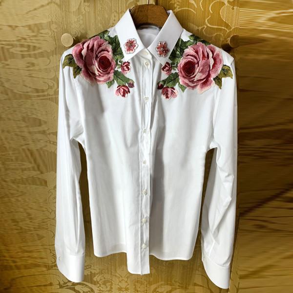 Marka Tasarımcısı Lüks Nakış Bluz 2019 Moda Stil Kadın Boncuklu Çiçekler Kısın Yaka Uzun Kollu Beyaz Parti Kokteyl Gömlek Üst