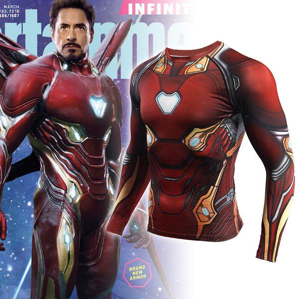 Rashgard Iron Man 3D Imprimé Sport Shirt Hommes Gym À Manches Longues Running Shirt Chemises De Compression Tight Fitness Dry Fit T Shirt Hommes