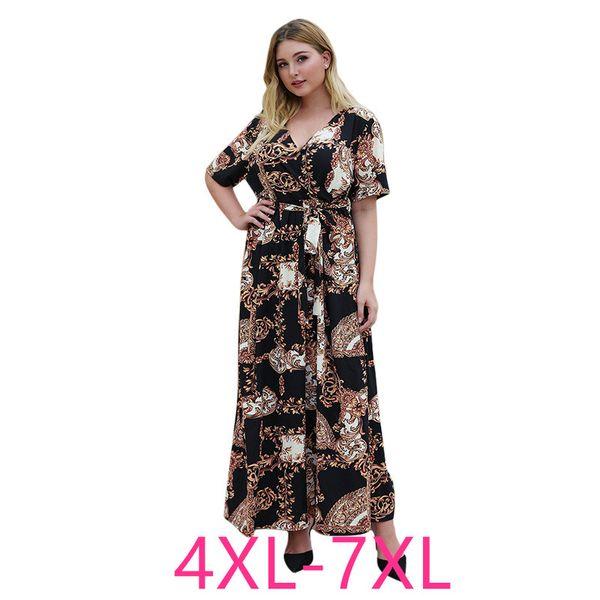 2020 Summer Plus Size Long Maxi Dress For Women Large Casual Loose Short  Sleeve Print V Neck Party Dresses Belt 4XL 5XL 6XL 7XL Ladies Dress ...