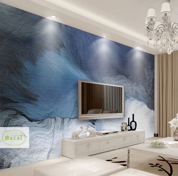 Bacal wall paper 3D Custom photo wallpaper mural abstract blue stripe ink landscape wall decorative painting papel de parede 3D