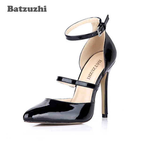 Batzuzhi Fashion Women Shoes Black Patent Leather Comfortable Dress High Heels Pointed Toe Ankle Buckle Sexy Party Pumps