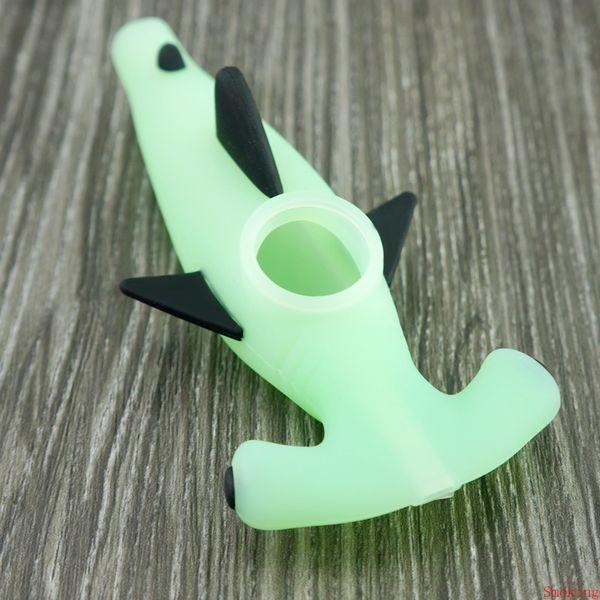 Tubarão Projeto Silicone Mão Cachimbo Bongs água Heady Pyrex colher Bacia de vidro fumadores Oil Rig Pipes Dab Burner Tobacco bolso dos desenhos animados