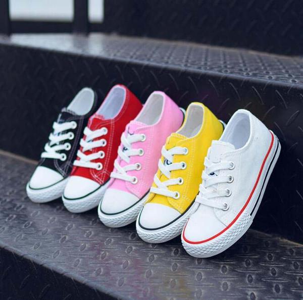 Novo de alta qualidade da marca caçoa sapatas de lona tênis de moda sapatos de lona esportes meninos meninas high-low esportes executando crianças sapata sapatas