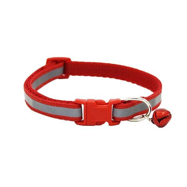Pet Collar Dog Cat Safety Adjustable Neck Cat, Dog, Bell Strap Nylon Reflective Collars Patchwork Supplies