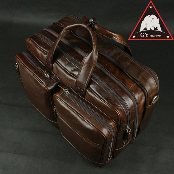 9fbcd8aaf ANAPH Brand Full Grain Cow Leather Business Briefcases 15 Inch Laptop Bag  Tote Bags Men Large