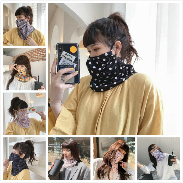 top popular Fashion Women Scarf Bandanas Polyester Mask Outdoor Windproof Mask Handkerchief Half Face Dust veil Easy to eat Sunshade Masks 2021