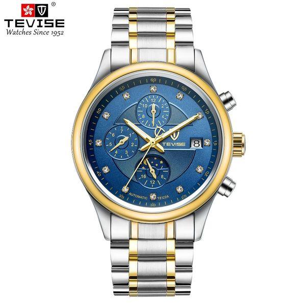 TEVISE Classic Herrenuhren Mechanische Armbanduhren Mondphase Edelstahl Herrenuhr Fashion Man Clock