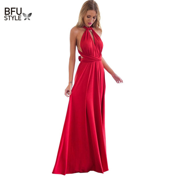 Mujeres sexy Multiway Wrap Convertible Boho Maxi Club vestido rojo vendaje vestido largo del partido de las damas de honor infinito túnica Longue Femme Q190423