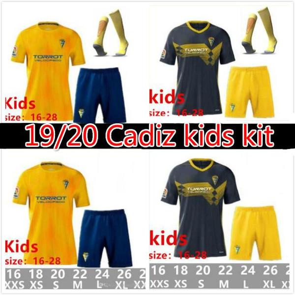 2019 Cadice bambino bianco pullover di calcio 19 20 camicia Cádiz CF Garrido Home Uomo pantaloncini camisetas de futbol Fernandez 2020 bambini gialli Carmona