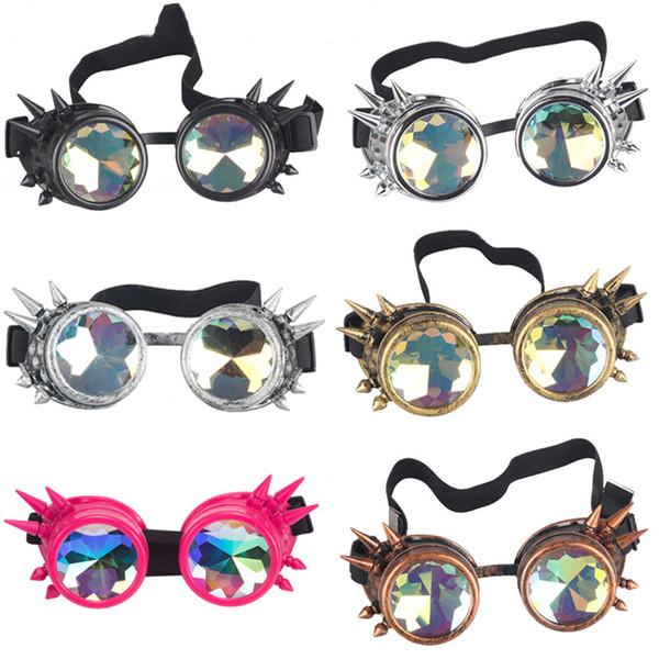 Nuevo Diseño Caleidoscopio de los anteojos de Steampunk del punk gótico caleidoscópicos Lentes cosplay para la máscara del partido de Halloween Carnaval
