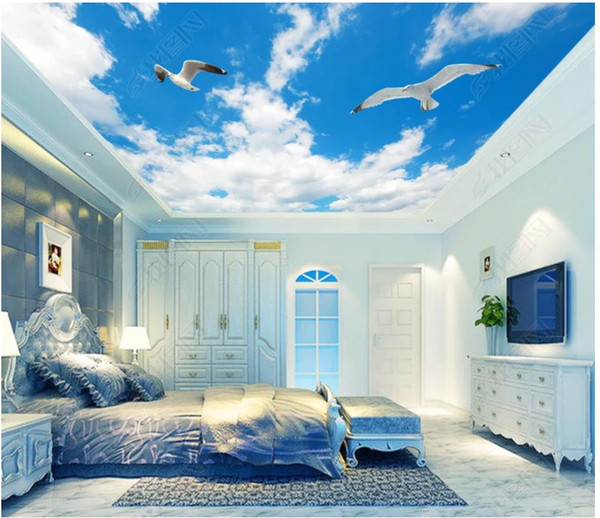 Custom Large 3d ceiling photo wall paper Blue sky and white clouds living room bedroom ceiling zenith mural wallpaper for walls 3d
