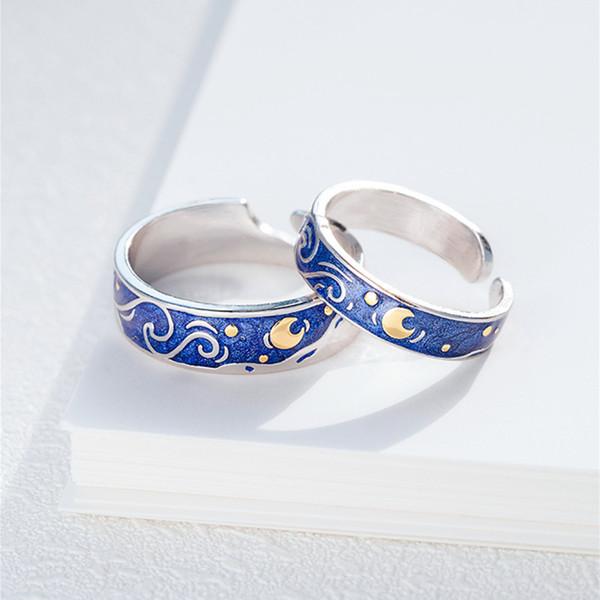 925 Silber gefüllt van Gogh Stern Paar Ring weibliche Art und Weise elegant Seeblauen Ring Herren-Hochzeitstag Geschenk Größe verstellbar