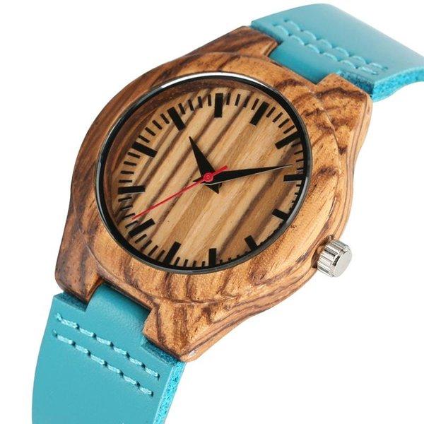 Casual zebrawood relógio de quartzo de madeira para as mulheres premium pulseira de couro relógio de pulso com vermelho pequeno segundo natural madeira relógios