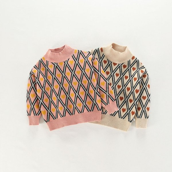 Kids Sweaters Boys Plaid Sweaters Children Pullover Autumn Baby Girls Knitted Top Child Heart Turtleneck Sweater Winter Clothes