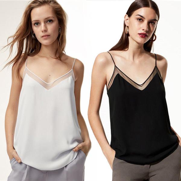 Sexy cuello en V Camis Tank Tops Transparente Sin mangas Verano Top Camisetas Camisetas Mujer Ropa Negro Blanco Gota