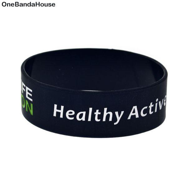 pulseira OneBandHouse 25PCS / Lot 1 polegada de largura Slogan Pulseira saudável estilo de vida ativo Silicone Decoração Bangle