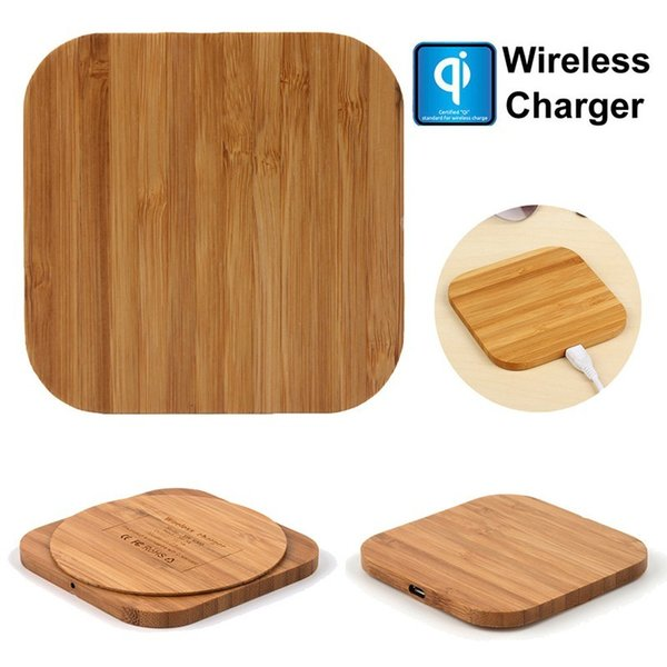 Bambus Holz Wireless Charger Pad Qi Schnellladepads Ladegeräte für iPhone Xs Max XR X Samsung Note 9 S9 S8 S7