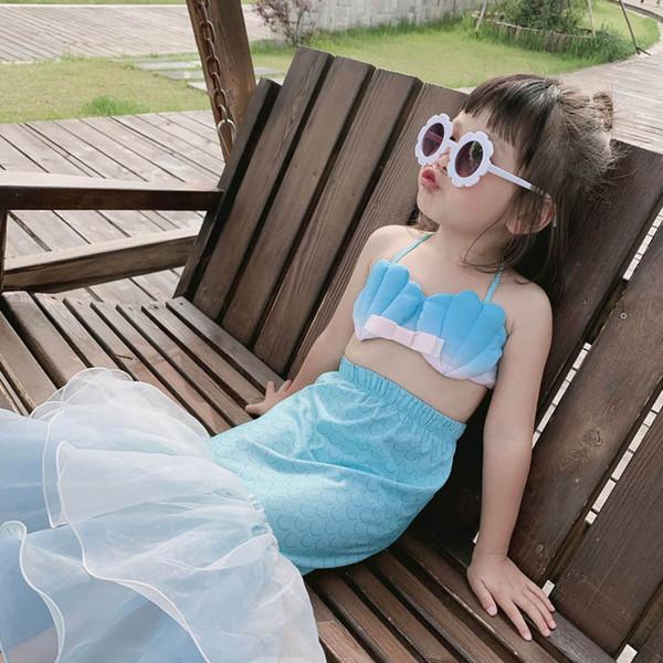 A sereia crianças swimwear 3 pçs / set meninas maiô meninas swimwear crianças fatos de banho meninas bikini criança define beachwear fatos de banho a6074