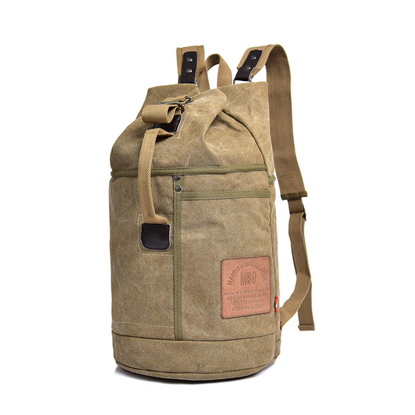 Bucket Cylinde Shape Style Canvas Bags Sport Outdoor Packs Backpack Casual Backpack With Letter String Interior Zipper Pocket Slot Pocket