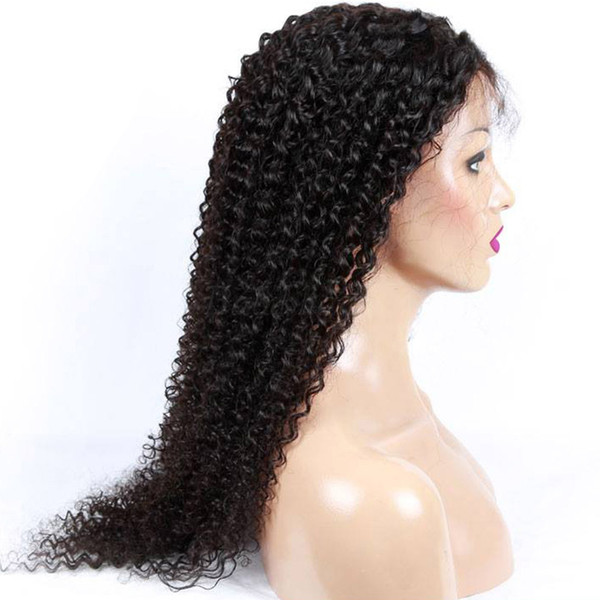 High Quality Indian Curly Human Hair Wig Affordable Deep Wave Front Full Lace Wigs Cheap Real Virgin Remy Hair Product Brown Swiss Lace