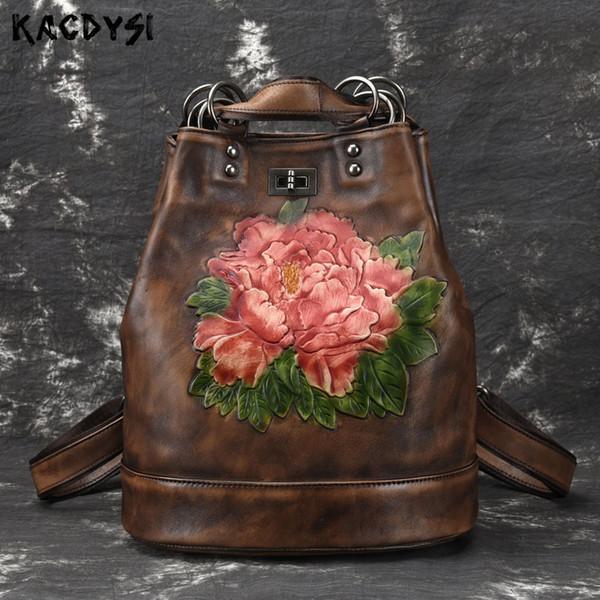 Hecho a mano de cuero genuino de la vendimia de las mujeres Mochila Cepillo de color de calidad portátil Notebook Mochila patrón de flores niñas viajes Satchel