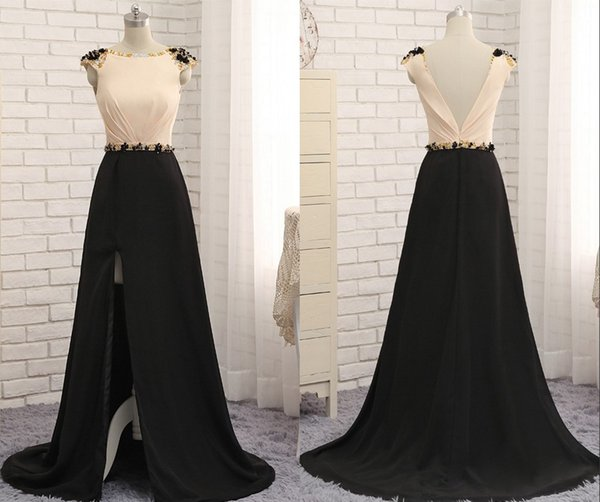 Black Champagne High Side Slits Evening Prom Dress Cheap Long 2019 Cap Short Sleeves Chiffon Beaded Open Back V Style Sexy Formal Pageant