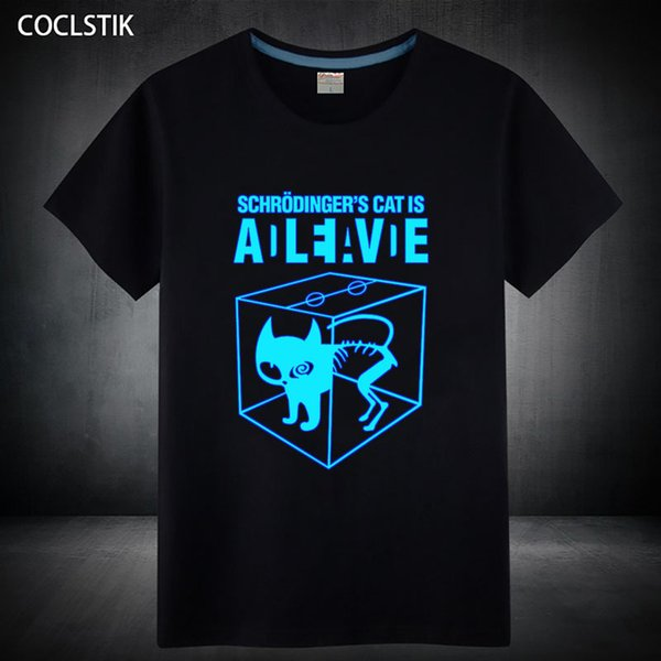 100% Cotton Childrens/mens Summer Fluorescent Schrodingers Cat T Shirt Male Luminous In Dark The Big Bang Theory T-shirts Tops Y19050803