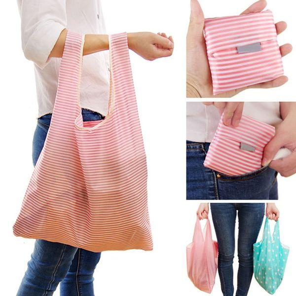Sacs à provisions durables de grande capacité de stockage Rayé polka dots sac écologique réutilisable se pliant Eco Sacs Sacs à main d'épicerie