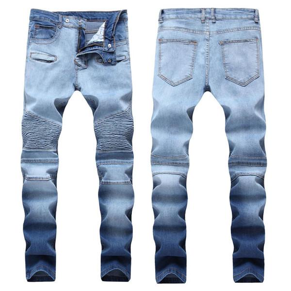 Europe Station Automne Et Hiver Nouveau Modèle Noir Split Joint Trous Patch Jeans Homme Mendiant Personnalité PUNK Pantalon Long Tendance