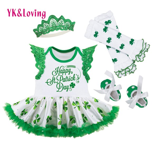 St Patrick Dress For Baby Girls Cotton Clothing Sets With Green Legging Warmers+green Toddler Shoes Saint Patrick's Day Y19050801