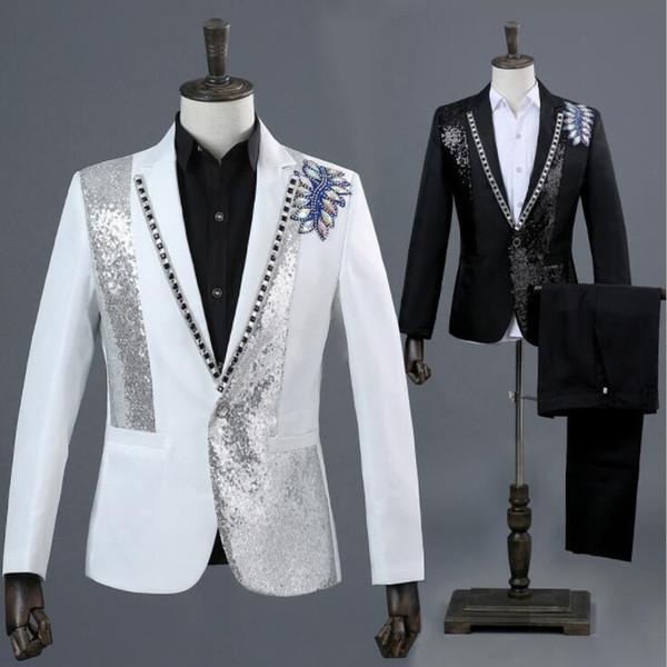 Blazer erkekler resmi elbise son ceket pantolon tasarımları evlilik takım elbise erkekler Fotoğraf stüdyosu renkli beyaz elmas erke ...