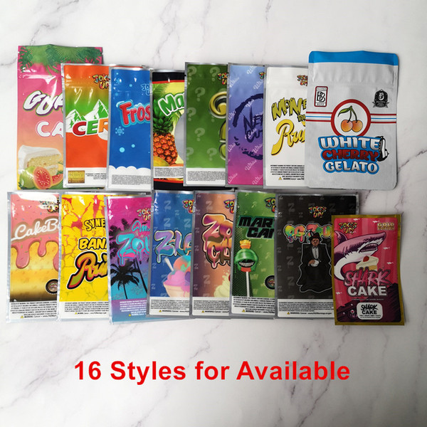 best selling 16 Mylar Bags JOKE'S UP Runtz Martian Candy CakeBatter Miami Zourz Money Bagg Sharklato Gold Edition Shark Cake Dry Herb Flower Packaging