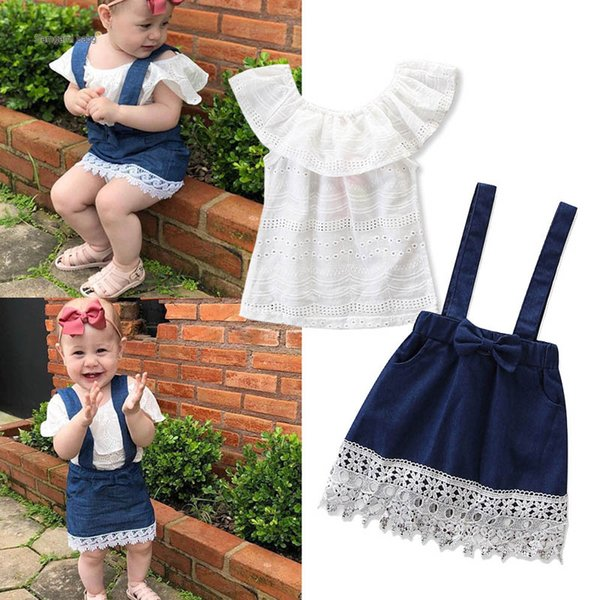 baby girl clothes Girls Dress Suits white Tops T shirt+Denim braces skirt Kids Sets toddler girl clothes Infant Outfits Infant Wear A3364