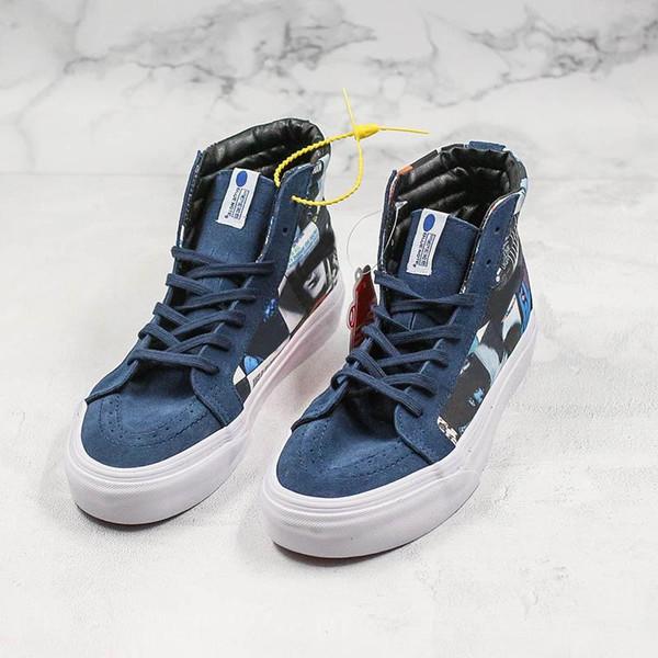 Designer Sneakers peint à la main bleu pour la rue port de chaussures de sport Skateboard blanc noir pour Hommes Femmes Chaussures en toile Casual C01