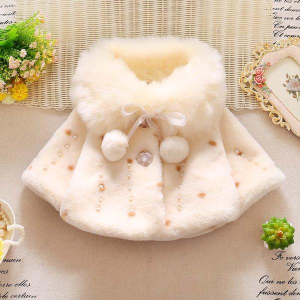 Nouvelles filles fourrure cape coral fleece oreilles de lapin avec capuche veste mignonne boule de cheveux hiver furry99910x6
