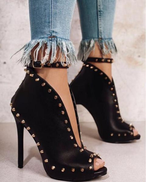 Automne-hiver-mode-chaussures-chaussures-rivets-bouche-bouche-talon haut pompes bouche sexy bottes taille 35-40