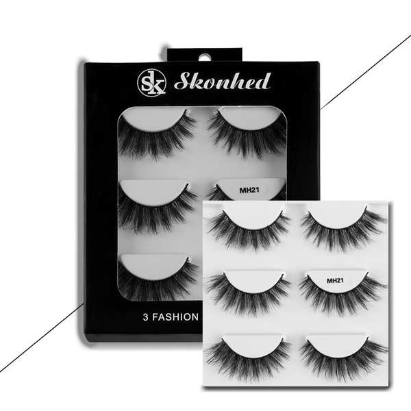 3 Pairs MH-21 Handmade Makeup 3D Natural False Eyelashes Long Thick Eye Lashes Reusable Make up Beauty Extension Tools Wimpers