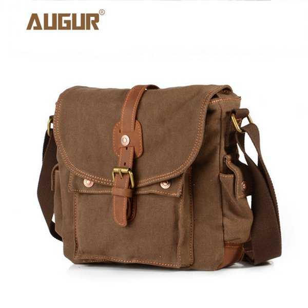 2017 Canvas Leather Crossbody Bag Men Military Army Vintage Messenger Bags Large Shoulder Bag Casual Travel Bags Y190701