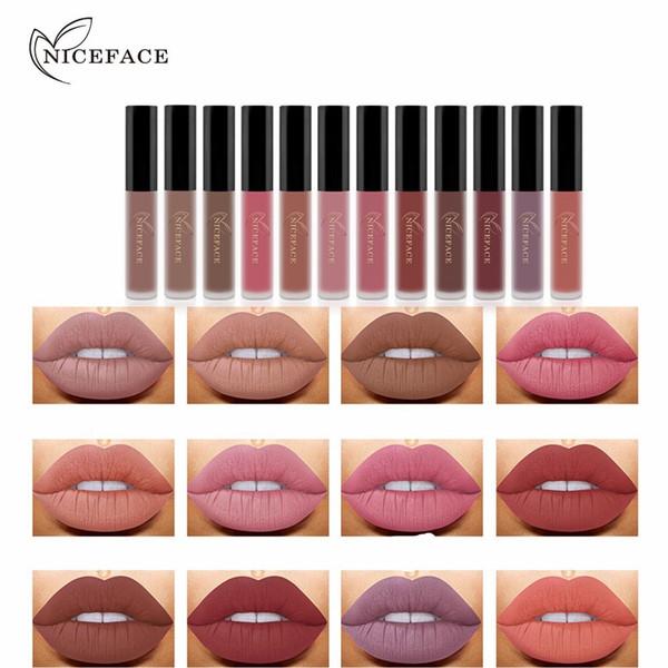 Único Niceface 12 Cores À Prova D 'Água Líquido Matte Batom Hidratante Suave Batom Longa Duração Lips Sexo Gloss Cosméticos Maquiagem Beleza