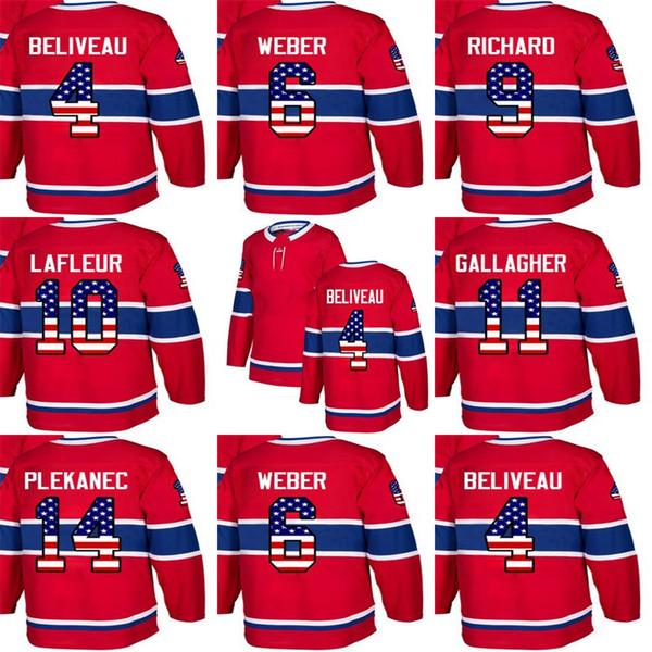 Custom Mens Momens Kids Montreal Canadiens 4 Jean Beliveau 6 Shea Weber 9 Maurice Richard 10 Guy Lafleur Stitched USA Flag Hockey Jerseys