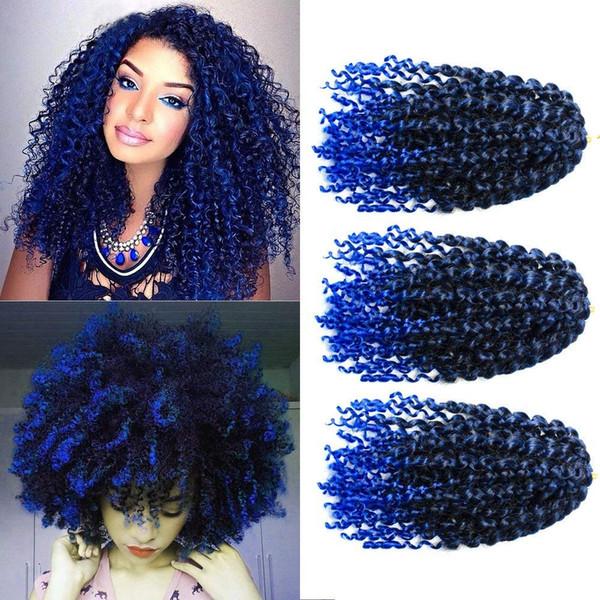 6pcs 8 pulgadas Marlybob Kinky Extensiones de cabello de ganchillo rizado Trenzas de ganchillo Marlybob Crochet de pelo Pelo de tejido rizado Ombre Trenzado de cabello (T1b / Azul)