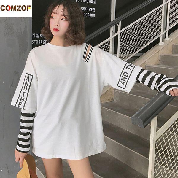 Women Korean Fashion Oversized Long Sleeve T Shirt Hip Hop Punk Streetwear Girls Fake Two Pieces Tees Off Shoulder Tops C19042301