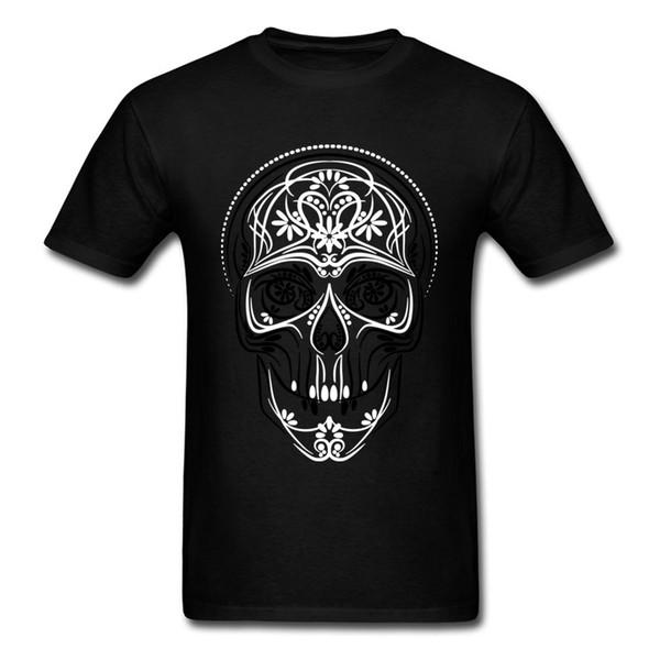 Stylish Street Skull Tee Shirt 2018 Men's Tops T-shirt Short Sleeve Black White Cotton Clothing For Halloween Gothic Tshirt