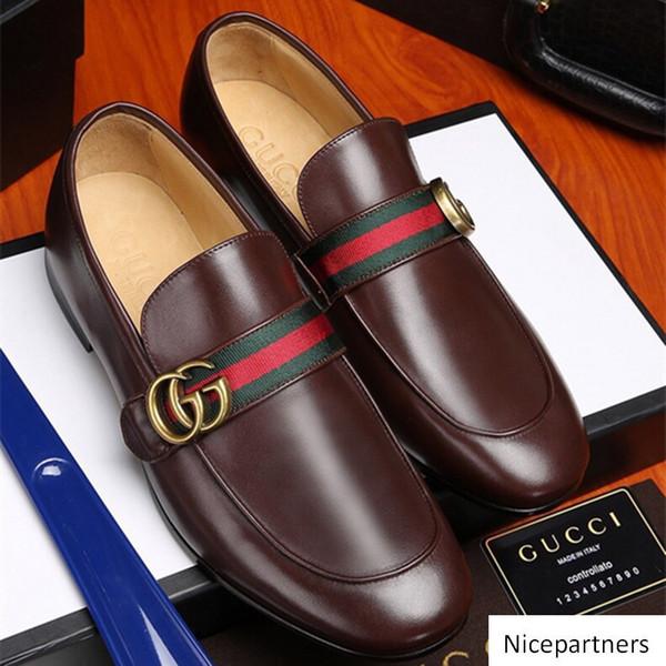 Traspirante Italiana Progettisti uomini lavorano 2019 Ufficio Mens Fashion Dress Dhoes Genuine Leather pattini degli appartamenti del vestito per il partito di formato 38-44