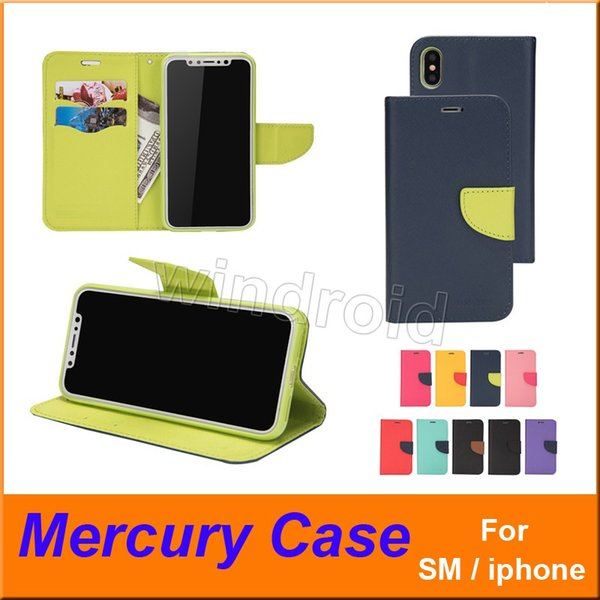 Mercury Wallet Leather Stand PU TPU Hybrid Case Folio Flip Cover For All Phones iPhone X XS MAX 8 7 Plus S10 S9 NOTE 9 + retail box cheapest