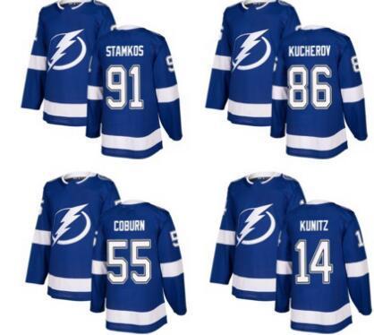 Tampa Bay Lightning Blue Ana Sayfa Dikişli Hokey Forması, erkekler 27 McDonagh 86 KUCHEROV 77 HEDMAN 88 VASILEVSKIY 9 JOHNSON 91 STAMKOS Hokey kıyafeti