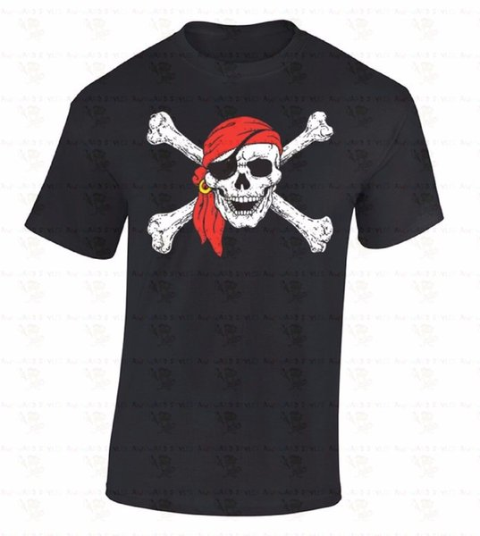 Jolly Roger Skull T-SHIRT Day Of Dead Pirate Flag Crossbones Eye Patch Shirt comfortable knitted comfortable fabric street style men t-shirt