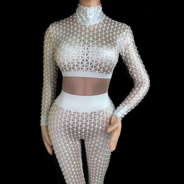 Blanc Strass Plaid Impression Jumpsuit Sexy Grand Stretch Élastique Body Femmes Discothèque Vêtements Bar Party Dj Chanteur Ds Costume