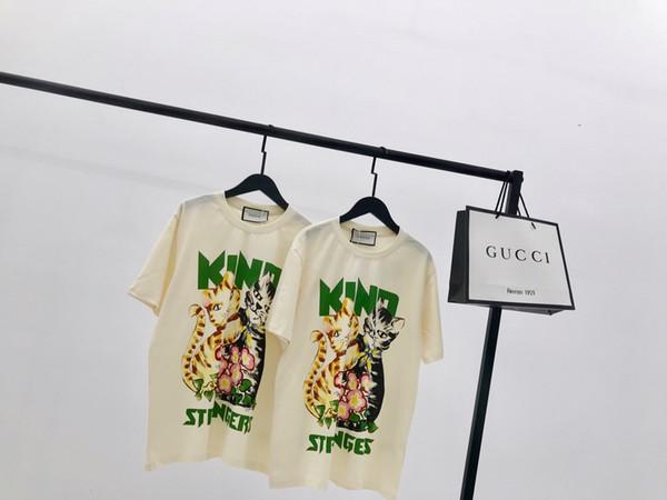19ss Nuevo diseño lujoso gatos imprimir Camiseta Hombres Mujeres Moda transpirable Streetwear Sudaderas Camisas al aire libre