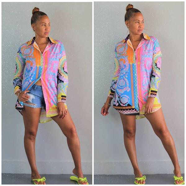 Women's Button Down Shirts Dresses Sexy Floral Print T-Shirt Dress Long Sleeve Collar Loose Blouse Tops Mini Dress